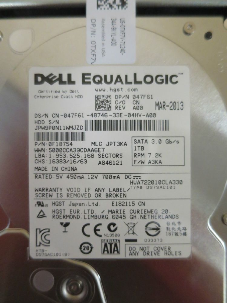 "NEW DELL EQUALLOGIC 1TB SATA 7.2K  3.5"" DRIVE 47F61 TXF7V 0F18754"